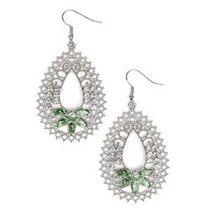 Green & White Rhinestone Fancy Earrings
